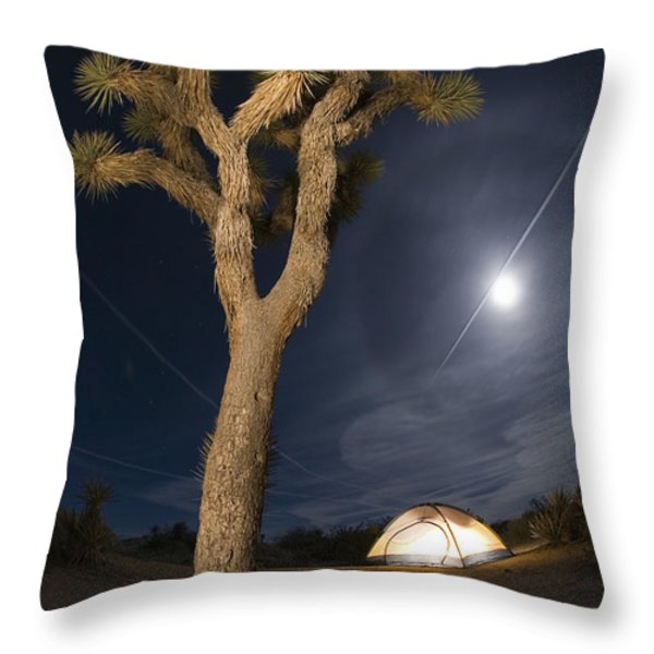 Full Moon Rising Over A Joshua Tree Throw Pillow by Rich Reid