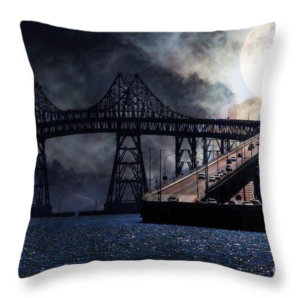 Full Moon Surreal Night At The Bay Area Richmond-san Rafael Bridge - 5d18440 Throw Pillow by Wingsdomain Art and Photography