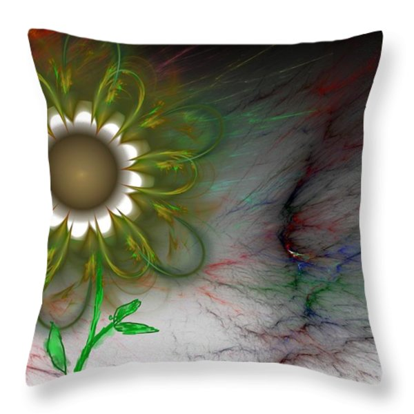 Funky Floral Throw Pillow by David Lane