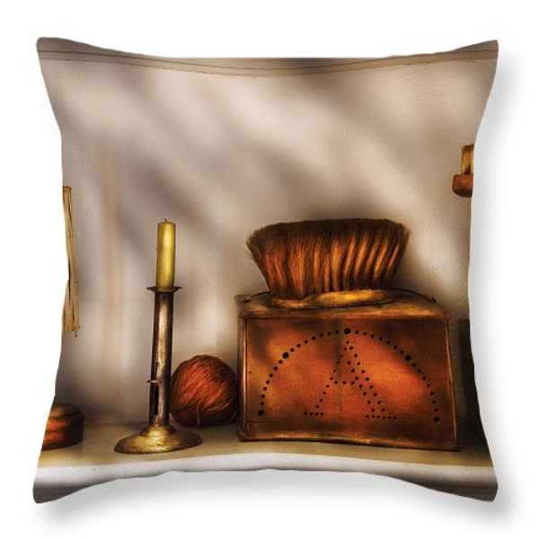 Furniture - Shelf - A collection of curious items Throw Pillow by Mike Savad