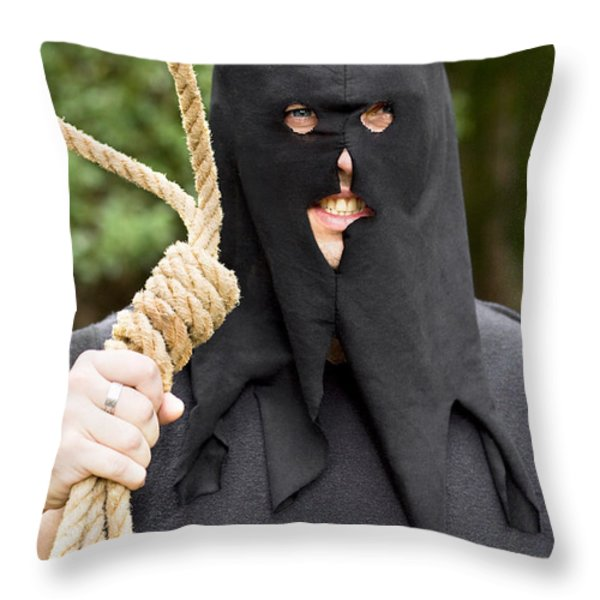 Gallows Hangman With Noose Throw Pillow by Ryan Jorgensen