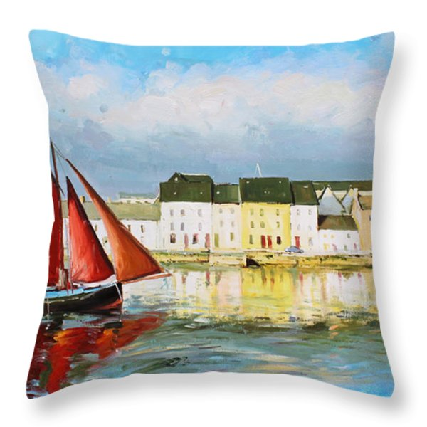 Galway Hooker Leaving Port Throw Pillow by Conor McGuire