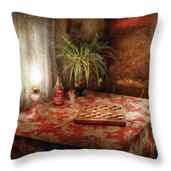 Game - Checkers - Checkers Anyone Throw Pillow by Mike Savad