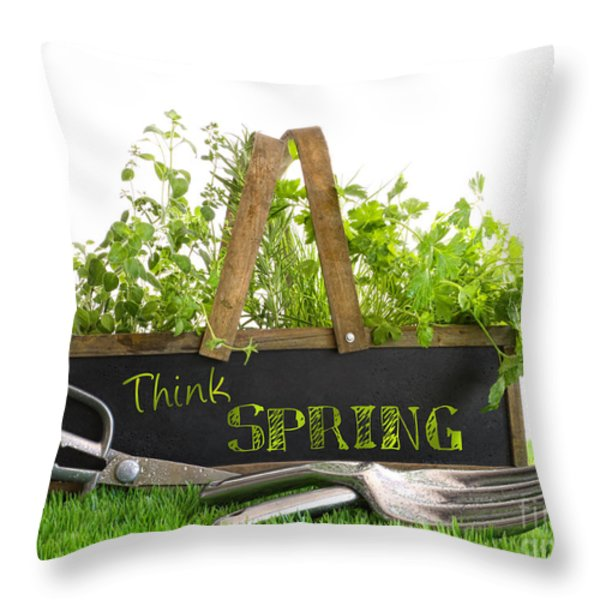 Garden Box With Assortment Of Herbs And Tools Throw Pillow by Sandra Cunningham