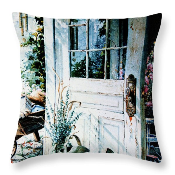 Garden Chores Throw Pillow by Hanne Lore Koehler