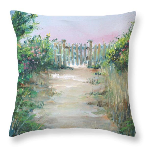 Garden Fence Throw Pillow by Paul Walsh