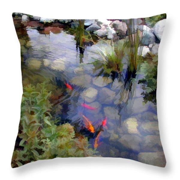 Garden Koi Pond Throw Pillow by Elaine Plesser