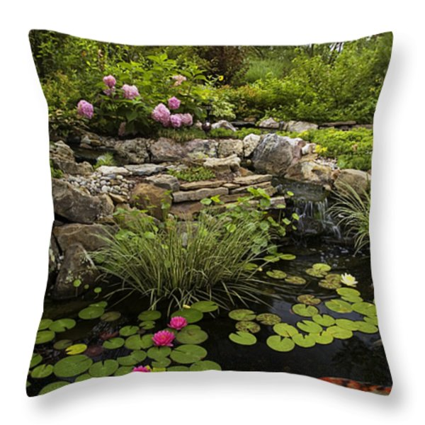 Garden Pond - D001133 Throw Pillow by Daniel Dempster