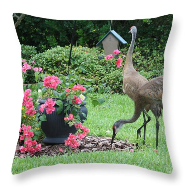 Garden Visitors Throw Pillow by Carol Groenen