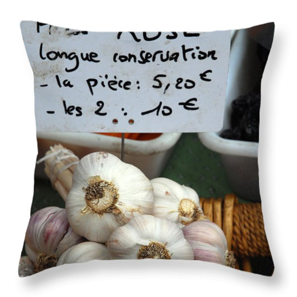 Garlic And Dried Apricots For Sale Throw Pillow by Anne Keiser