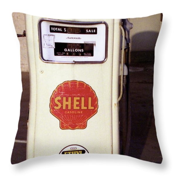 Gas Pump Throw Pillow by Michael Peychich
