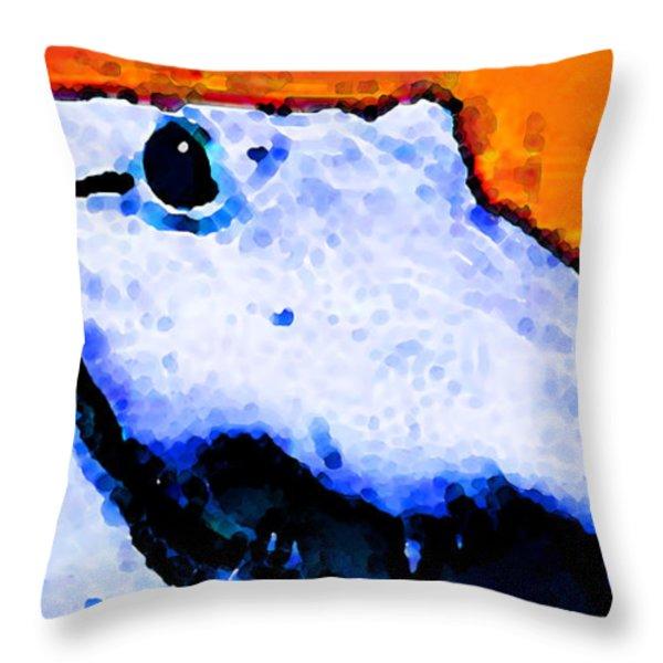 Gator Art - Swampy Throw Pillow by Sharon Cummings
