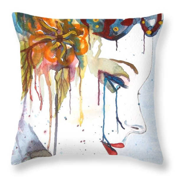 Geisha Soul Watercolor Painting Throw Pillow by Georgeta  Blanaru