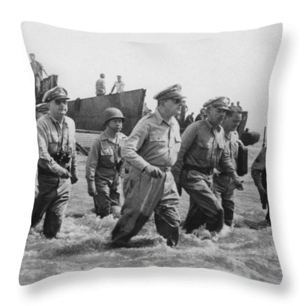 General Douglas MacArthur Returns Throw Pillow by War Is Hell Store