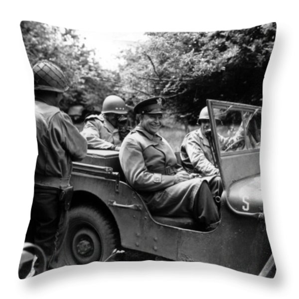 General Eisenhower In A Jeep Throw Pillow by War Is Hell Store