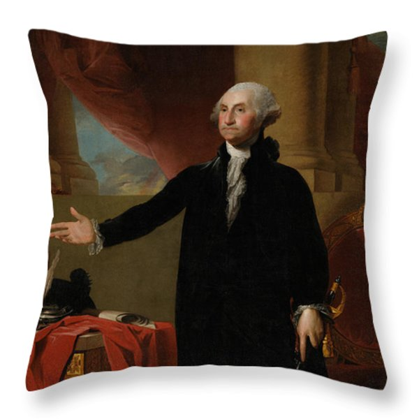 George Washington Lansdowne Portrait Throw Pillow by War Is Hell Store