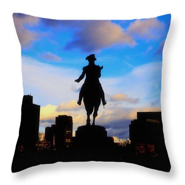 George Washington Statue Sunset - Boston Throw Pillow by Joann Vitali
