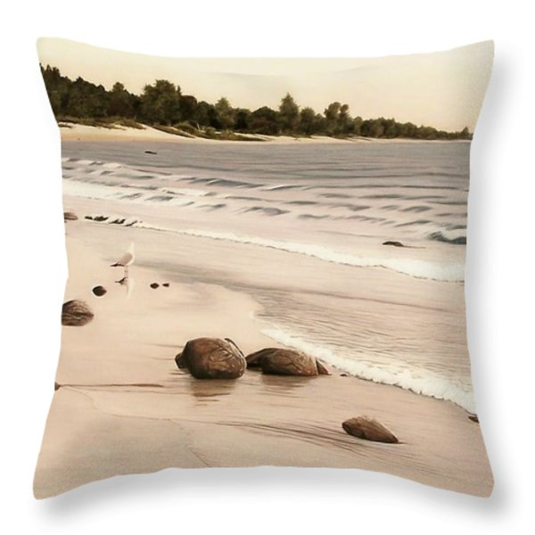 Georgian Bay Beach Throw Pillow by Kenneth M  Kirsch