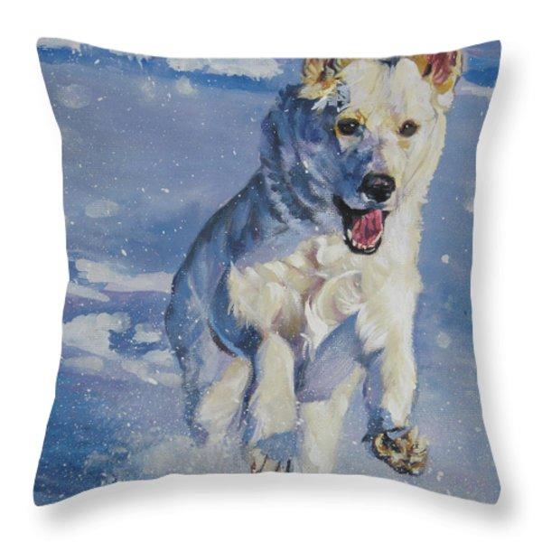 German Shepherd White In Snow Throw Pillow by Lee Ann Shepard