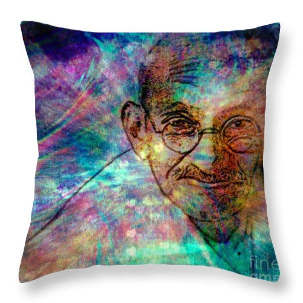 Ghandi Throw Pillow by WBK