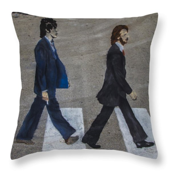 Ghosts of Abby Road Throw Pillow by Debra and Dave Vanderlaan