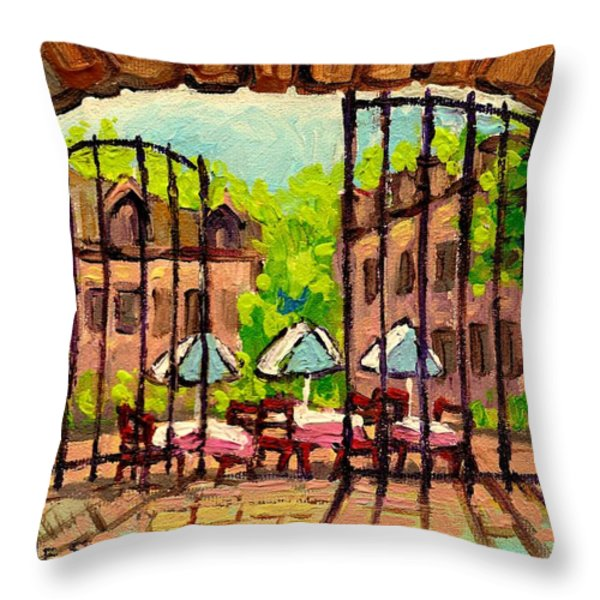 GIBBYS RESTAURANT IN OLD MONTREAL Throw Pillow by CAROLE SPANDAU