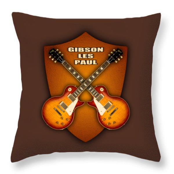 Gibson Les Paul Standart  Shield Throw Pillow by Doron Mafdoos