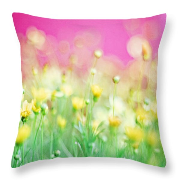 Giddy In Pink Throw Pillow by Amy Tyler