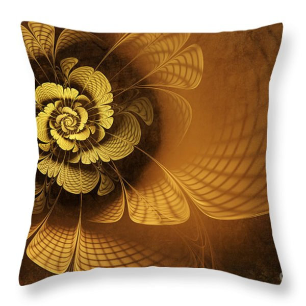 Gilded Flower Throw Pillow by John Edwards