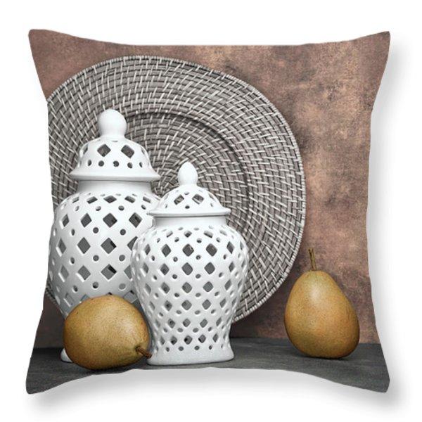 Ginger Jar with Pears II Throw Pillow by Tom Mc Nemar