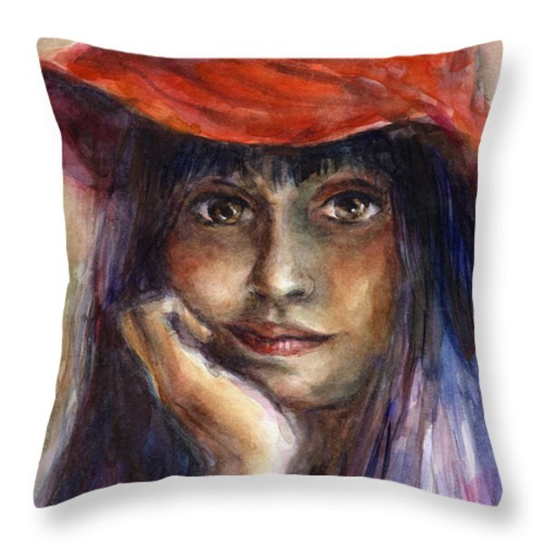 Girl In A Red Hat Portrait Throw Pillow by Svetlana Novikova