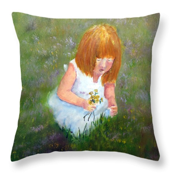 Girl In The Meadow Throw Pillow by Loretta Luglio