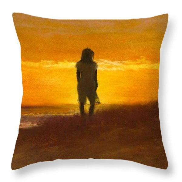 Girl On The Dunes Throw Pillow by Jack Skinner