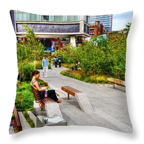Girl Uninterrupted on the High Line Throw Pillow by Randy Aveille