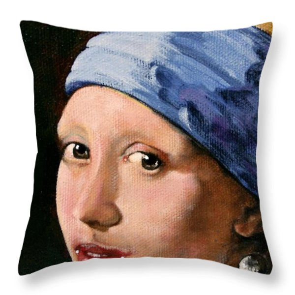 Girl with a Pearl Earring a Reproduction of Vermeer Throw Pillow by Joan Garcia