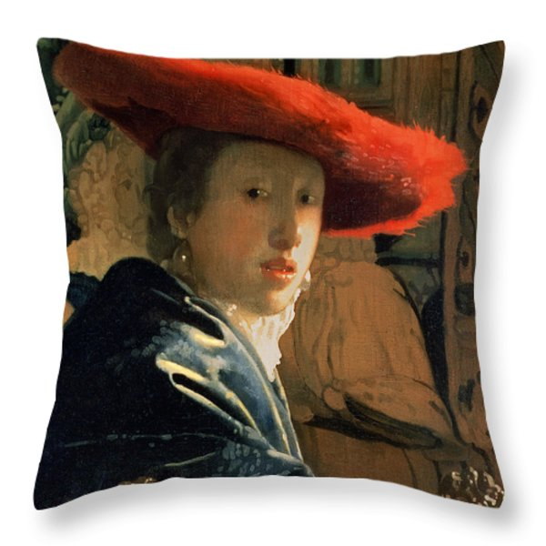 Girl With A Red Hat Throw Pillow by Jan Vermeer