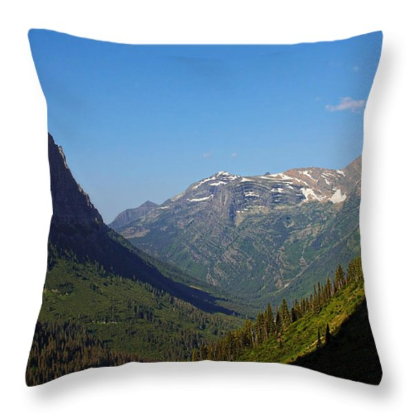 Glacier National Park MT - View from Going to the Sun Road Throw Pillow by Christine Till