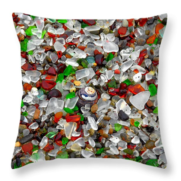 Glass Beach Fort Bragg Mendocino Coast Throw Pillow by Christine Till