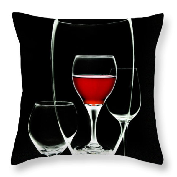 Glass of Wine in Glass Throw Pillow by Tom Mc Nemar
