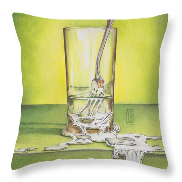 Glass with Melting Fork Throw Pillow by Melissa A Benson
