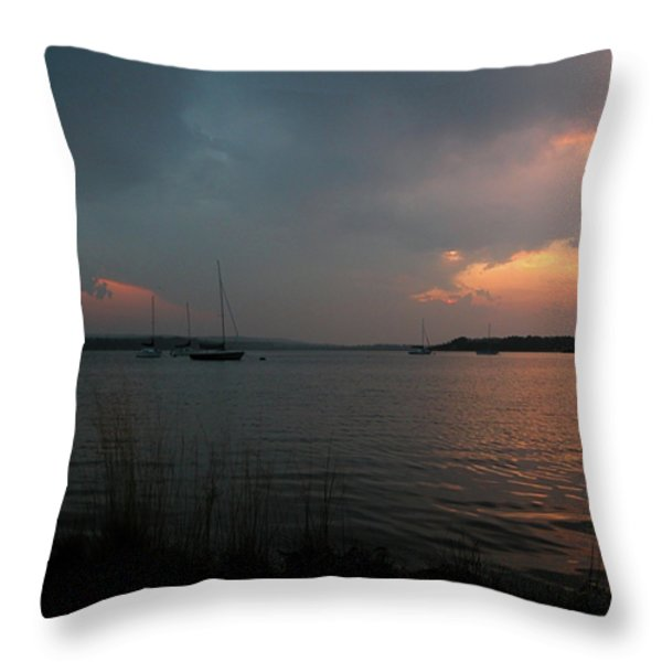 Glenmore reservoir - Sunset 3 Throw Pillow by Stuart Turnbull