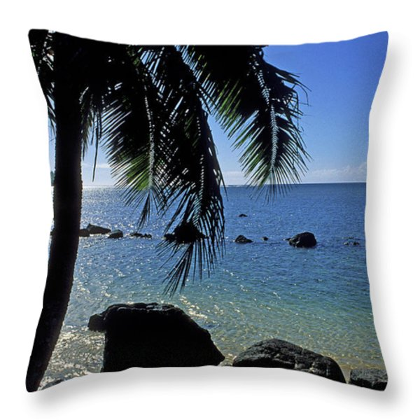 Glistening Anini Beach Throw Pillow by Kathy Yates