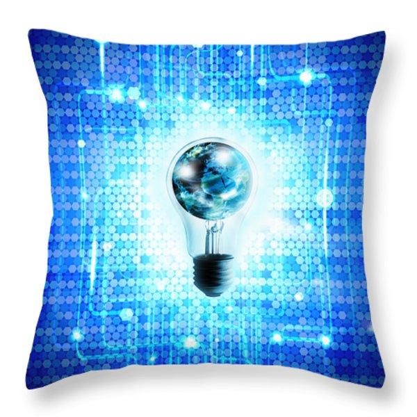 Globe And Light Bulb With Technology Background Throw Pillow by Setsiri Silapasuwanchai
