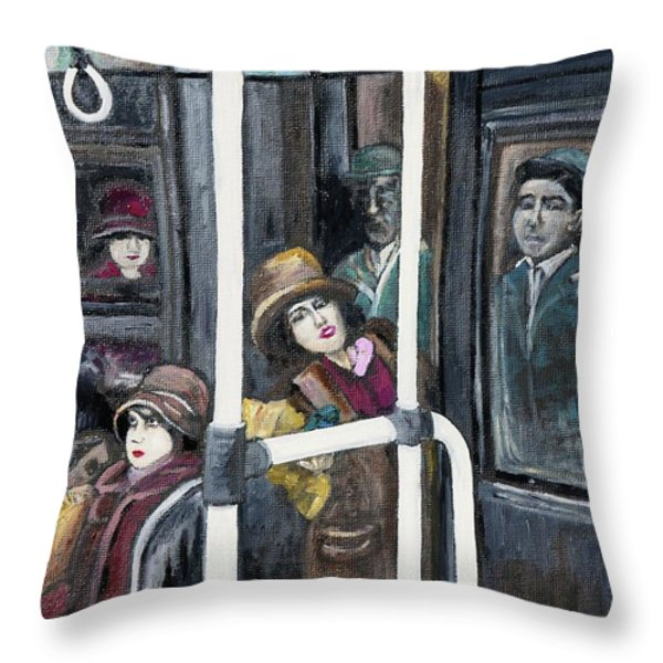 Gloria Swanson In Subway Scene From Manhandled Throw Pillow by Reb Frost