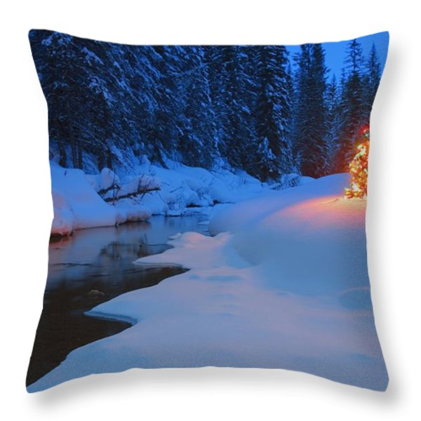 Glowing Christmas Tree By Mountain Throw Pillow by Carson Ganci