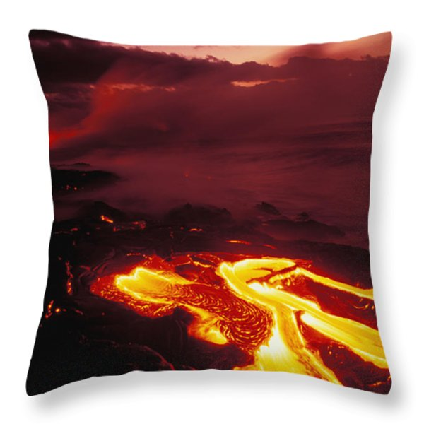 Glowing Lava Flow Throw Pillow by Peter French - Printscapes