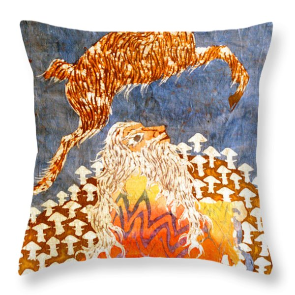 Goat Leaping Over Wood Elf Throw Pillow by Carol  Law Conklin