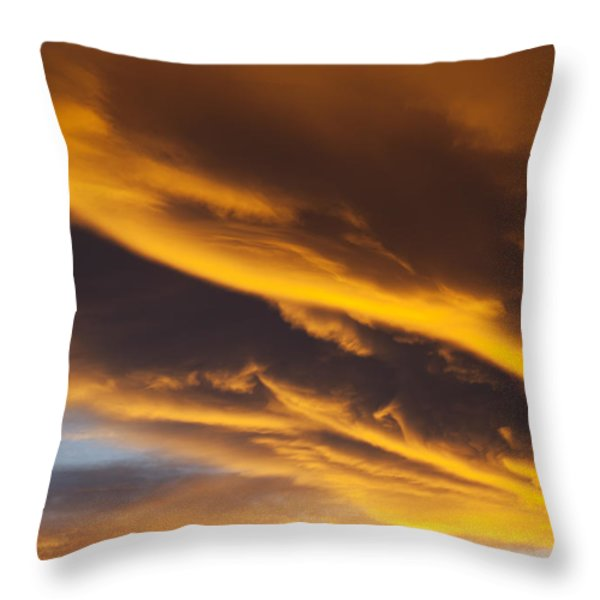 Golden clouds Throw Pillow by Garry Gay