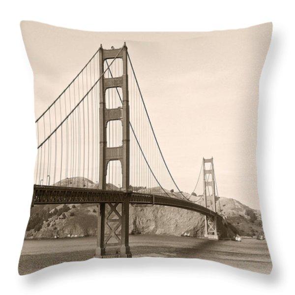 Golden Gate Bridge San Francisco - A thirty-five million dollar steel harp Throw Pillow by Christine Till