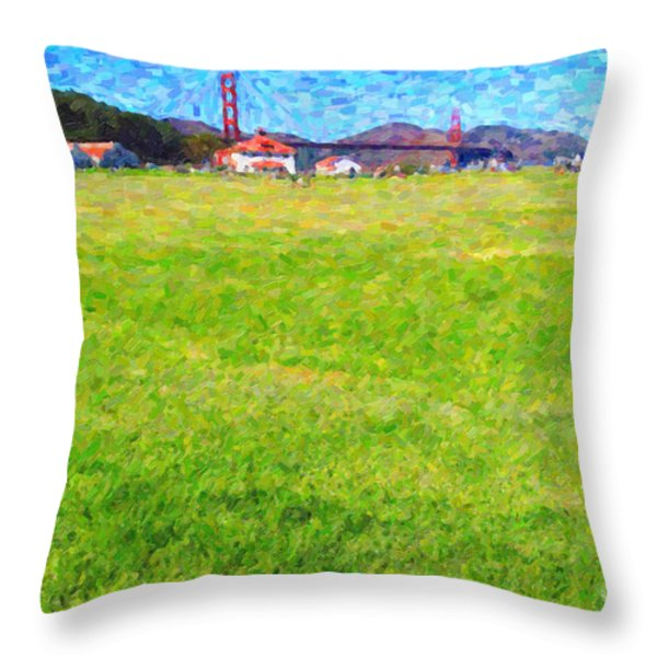 Golden Gate Bridge Viewed From Crissy Fields Throw Pillow by Wingsdomain Art and Photography
